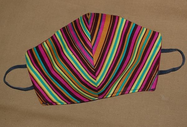 Striped cotton mask