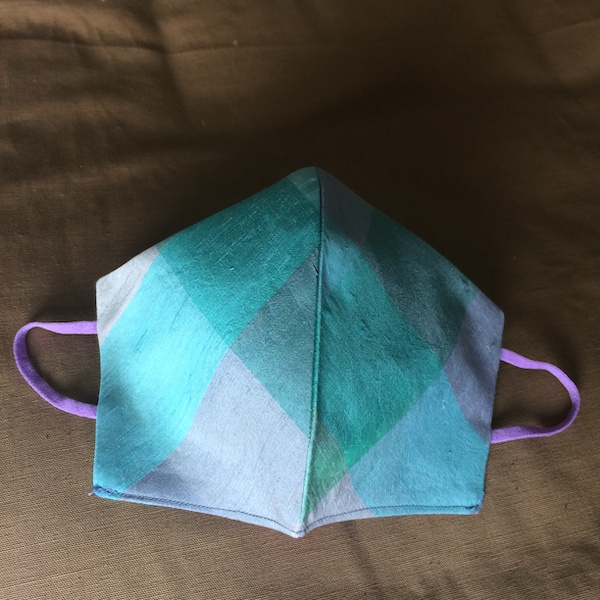Blue checked silk face mask