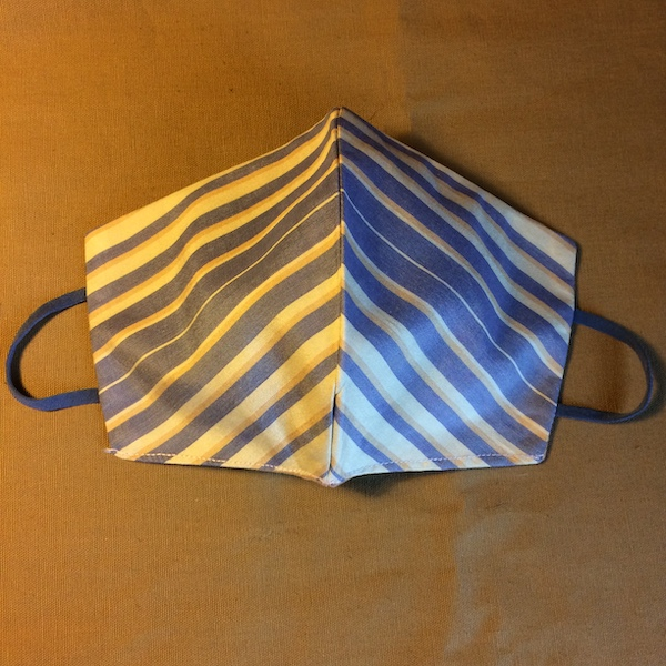 Blue stripe silk face mask