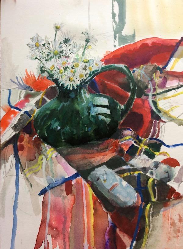 Daisies and tartan painting