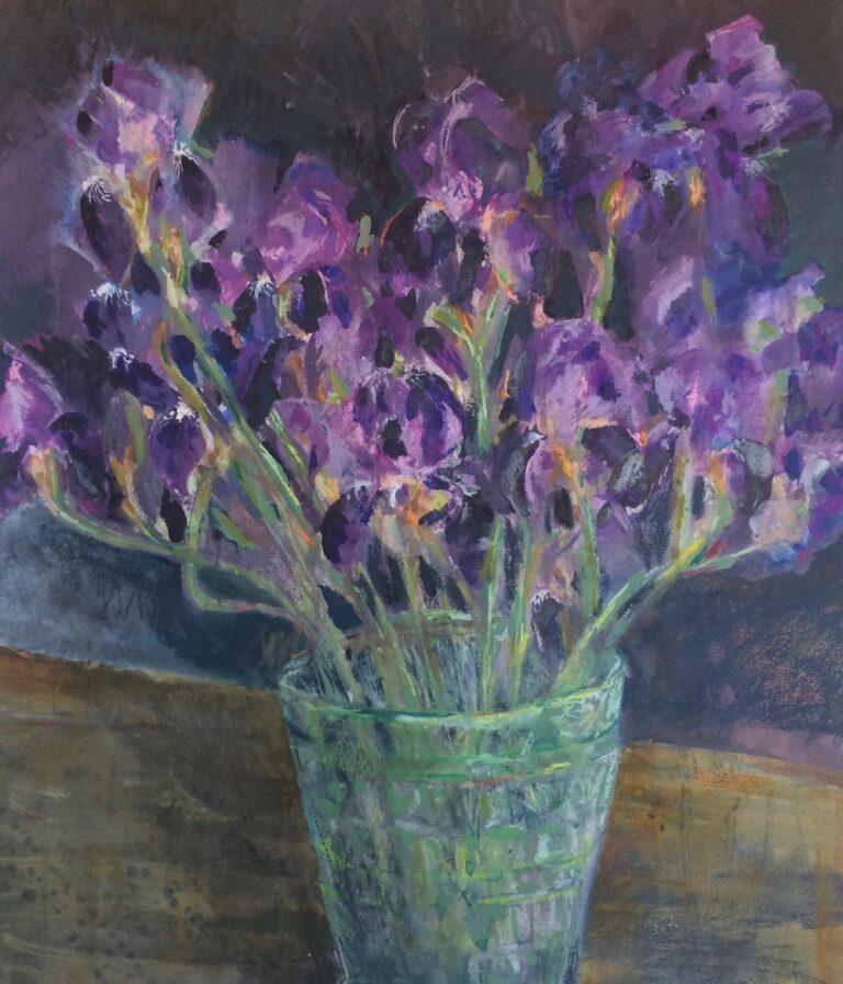 Dark Irises in a Deco glassvase