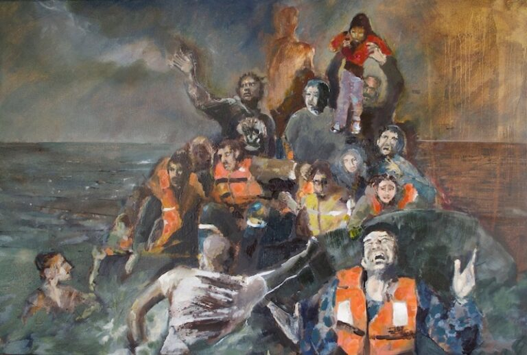 Migrants in a boat - Dungeness