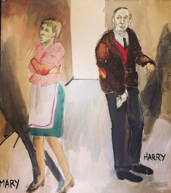 A costume drawing for Harry and Mary from SAVED