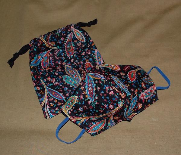Paisley mask and bag