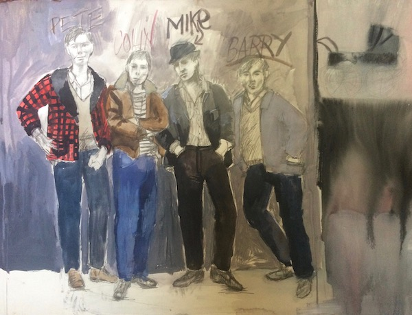 A costume drawing of Pete, Colin, Mike & Barry from the play SAVED by Edward Bond