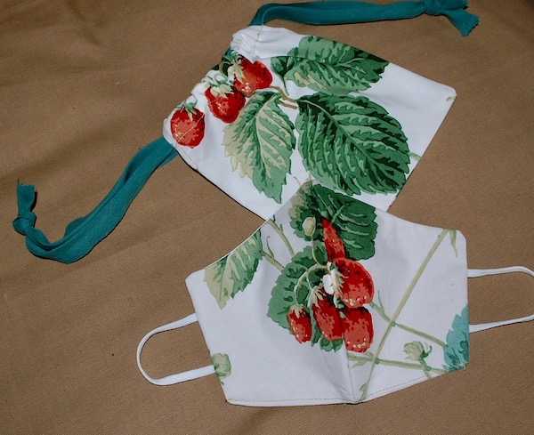 strawberry mask and bag